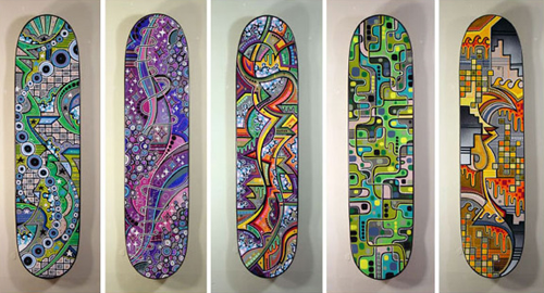 I love these super bright and poppy graphics Matt puts on skateboards